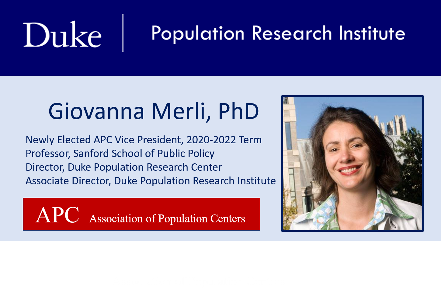 DUPRI's Giovanna Merli Elected Vice President for the Association of Population Centers