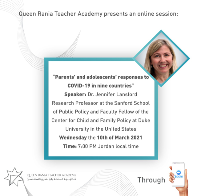 "Jennifer Lansford, Research Professor, Sanford School of Public Policy, presents, ""Parent's and Adolescent's Responses to COVID-19 in Nine Countries"""