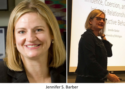 2 pictures of Jennifer Barber, portrait and as lecturer