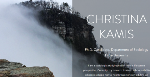 Photo of Christina's website--the background is a mountainous landscape with her name and title.